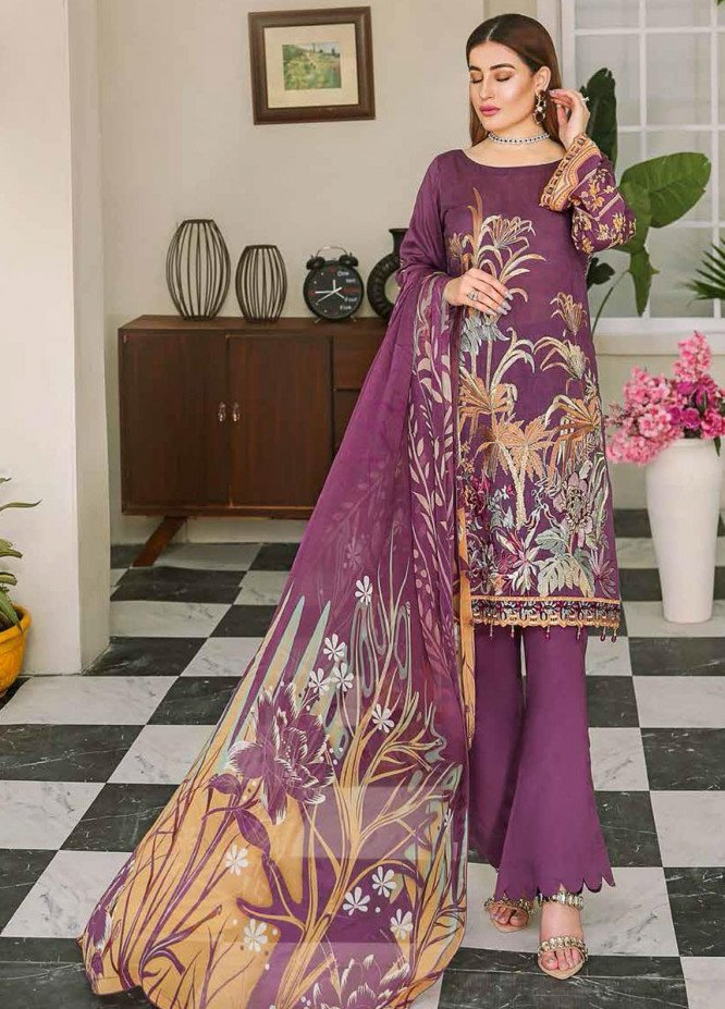 Dastoor by Ramsha Embroidered Lawn Suits Unstitched 3 Piece R21DT G-01 RICH HUES - Summer Collection