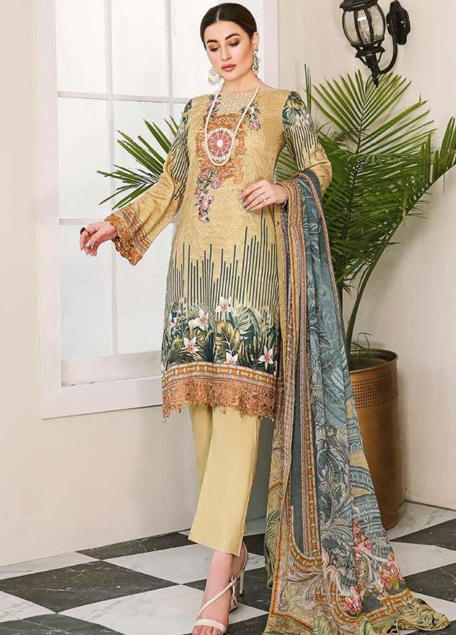 Dastoor by Ramsha Embroidered Lawn Suits Unstitched 3 Piece R21DT G-07 INSTANTLY CALMER - Summer Collection