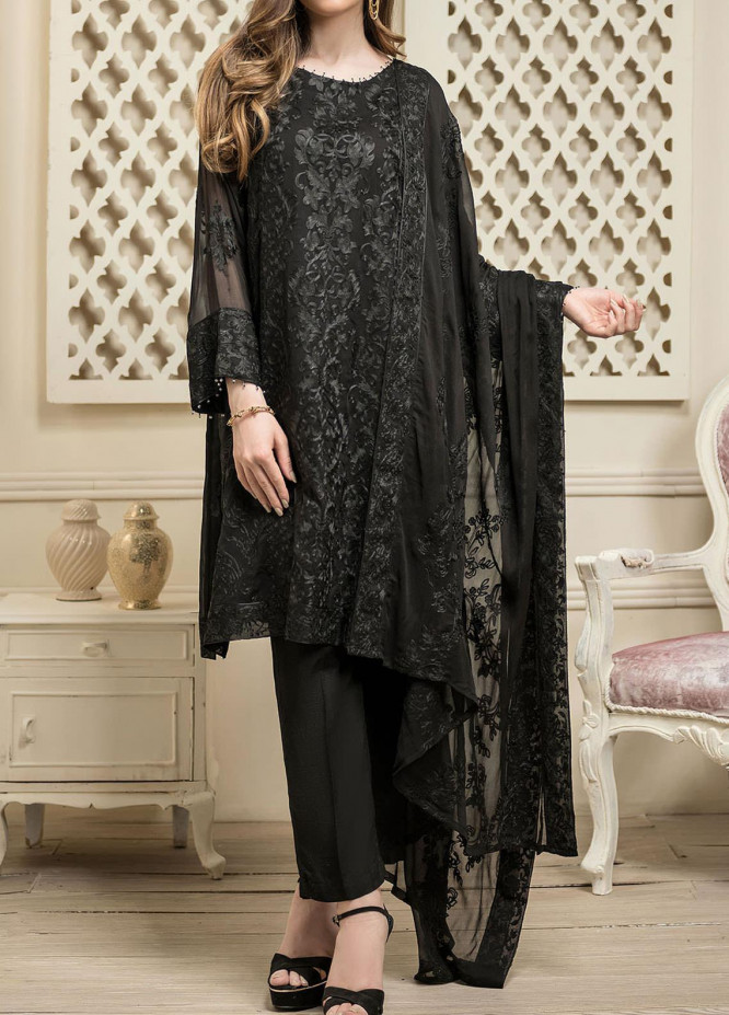Dhanak Embroidered Chiffon Unstitched 3 Piece Suit DK20LC DU-0020 BLACK - Luxury Collection
