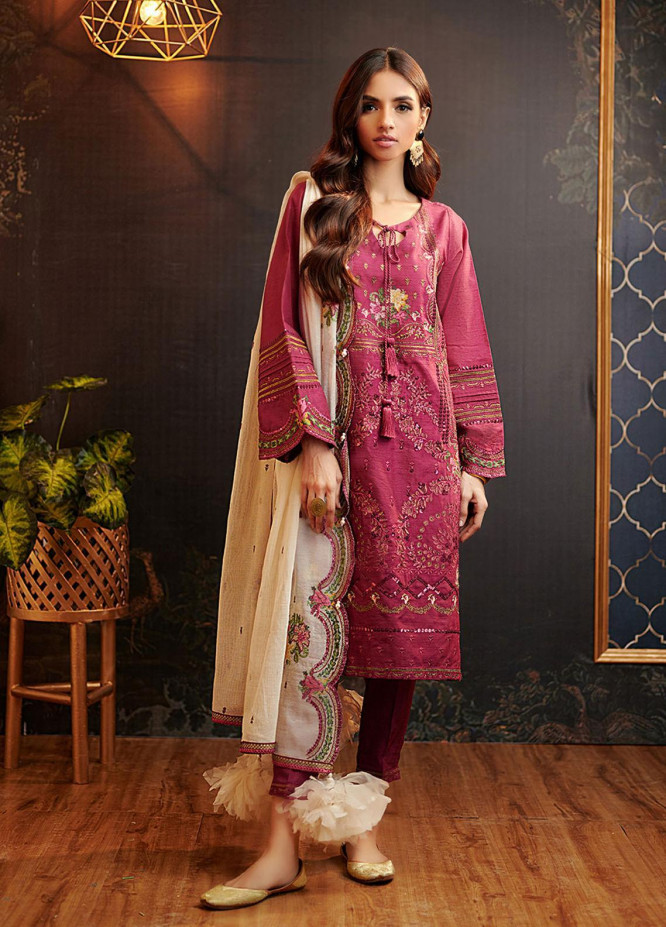 Dhanak Embroidered Organza Suits Unstitched 3 Piece DU-3065 - Luxury Collection