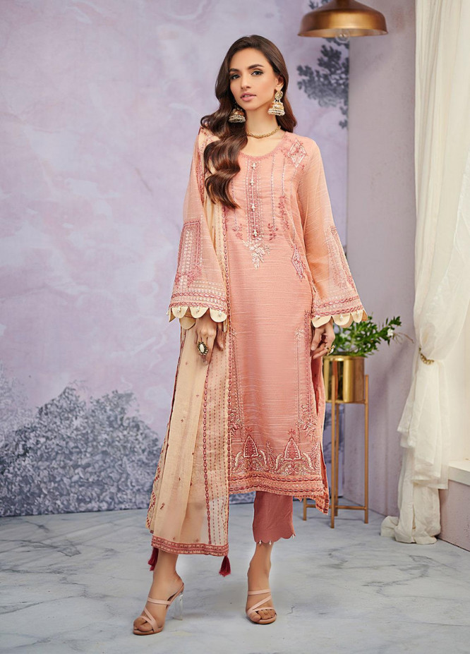 Dhanak Embroidered Net Suits Unstitched 3 Piece DU-3067 - Luxury Collection