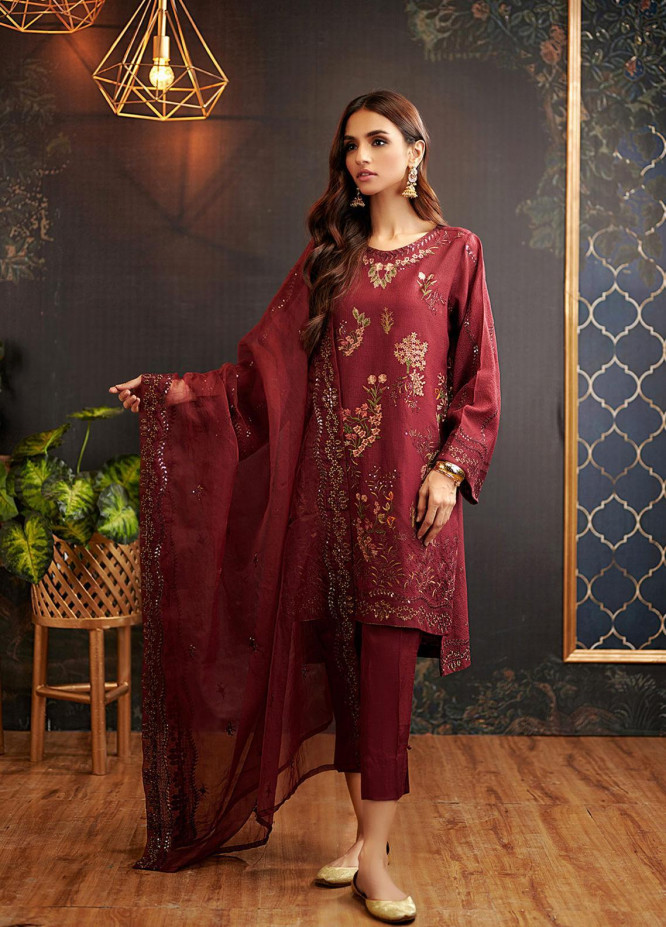 Dhanak Embroidered Khaadi Net Suits Unstitched 3 Piece DU-3068 - Luxury Collection
