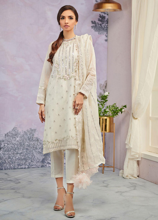 Dhanak Embroidered Organza Suits Unstitched 3 Piece DU-3069 - Luxury Collection