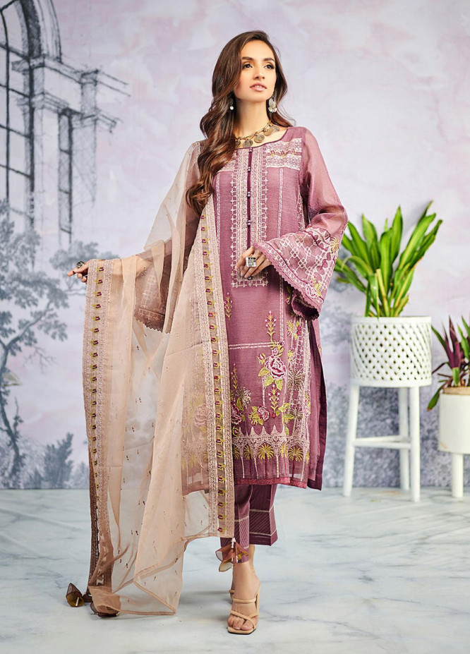 Dhanak Embroidered Khaadi Net Suits Unstitched 3 Piece DU-3071 - Luxury Collection