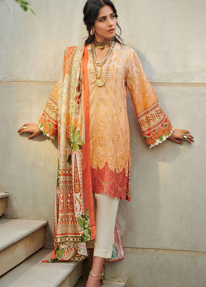 Dhanak Embroidered Lawn Suits Unstitched 3 Piece 04 ORANGE - Summer Collection