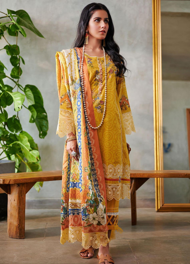 Dhanak Embroidered Lawn Suits Unstitched 3 Piece 07 YELLOW - Summer Collection