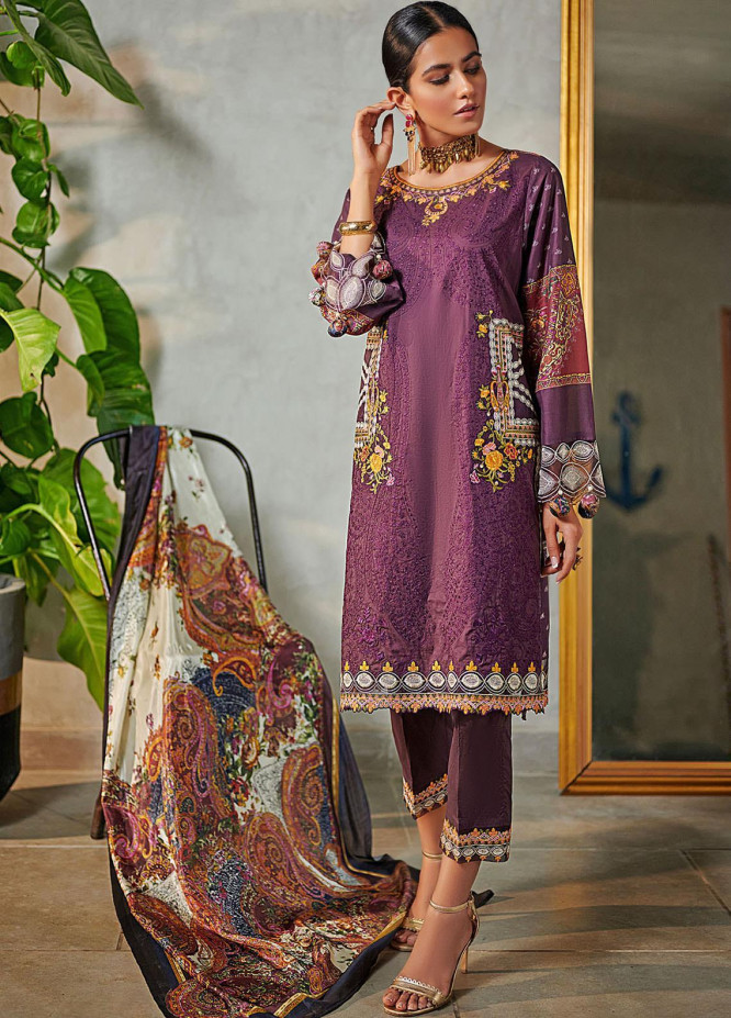 Dhanak Embroidered Lawn Suits Unstitched 3 Piece 08 PURPLE - Summer Collection