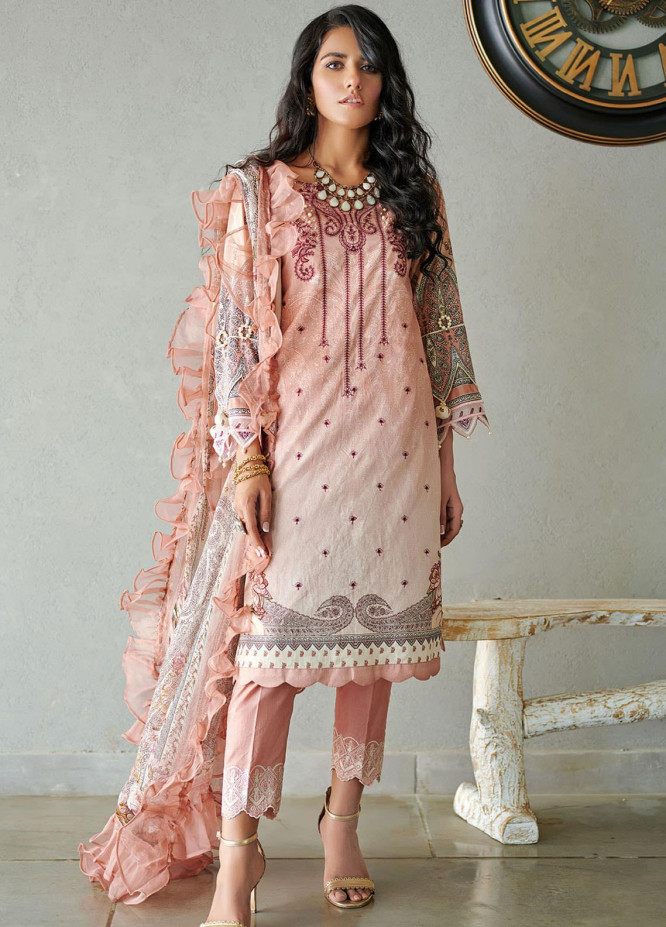 Dhanak Embroidered Lawn Suits Unstitched 3 Piece 09 PINK - Summer Collection