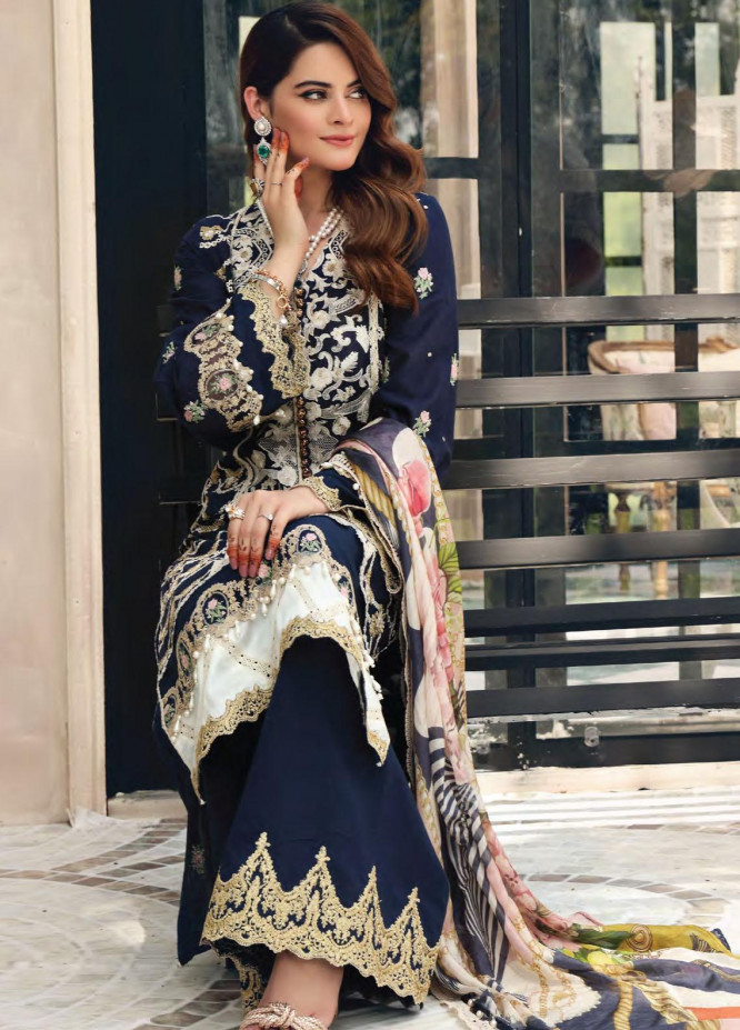 Elaf Embroidered Lawn Suits Unstitched 3 Piece EL21FC 04 Imperial - Luxury Collection