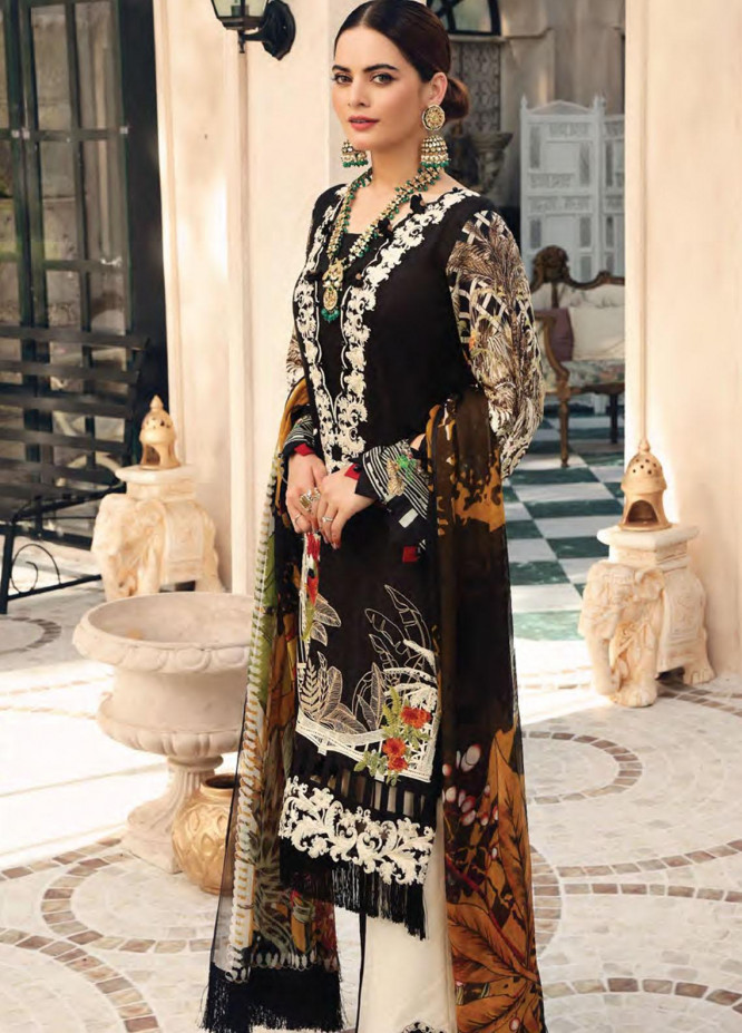Elaf Embroidered Lawn Suits Unstitched 3 Piece EL21FC 09 Obsidian - Luxury Collection