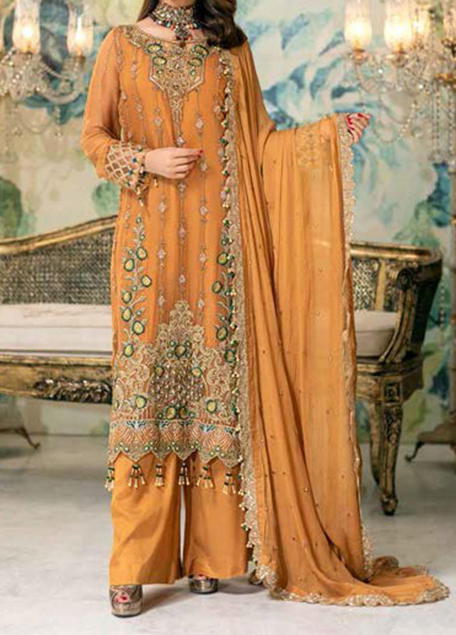 Elegance by Noor Jahan Embroidered Chiffon Unstitched 3 Piece Suit NJ20EC 05 Scarlet - Luxury Collection
