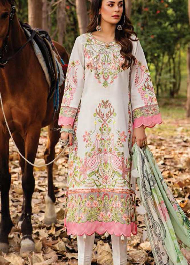 Elysia by Sana Sheraz Embroidered Lawn Suits Unstitched 3 Piece SS21E 03 Daffodil - Luxury Collection