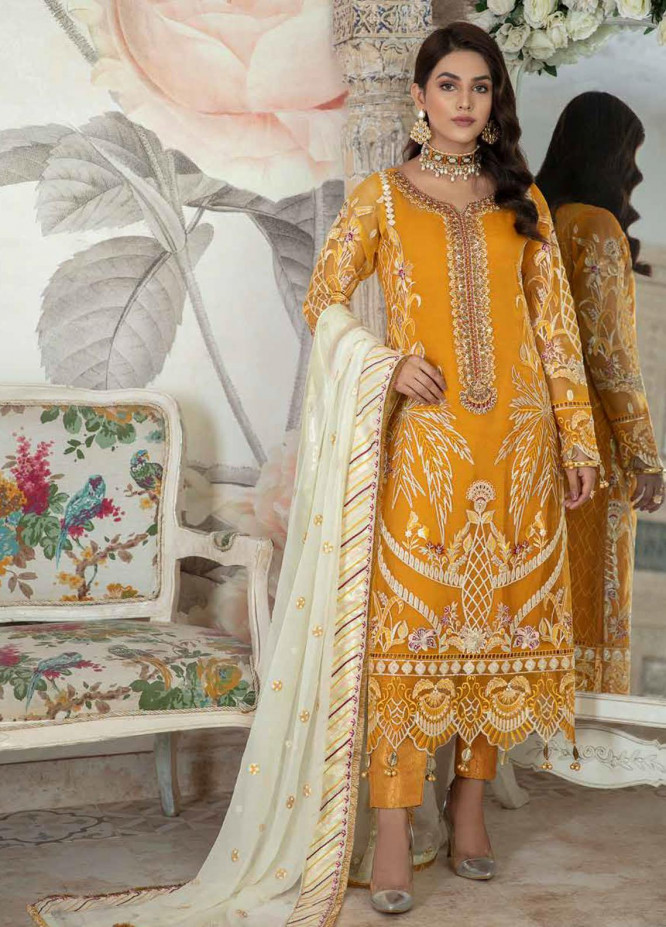Emaan Adeel Embroidered Chiffon Suits Unstitched 3 Piece EA21FP LE-05 - Luxury Collection