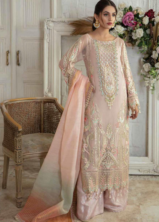 Emaan Adeel Embroidered Chiffon Suits Unstitched 3 Piece EA21FP LE-06 - Luxury Collection
