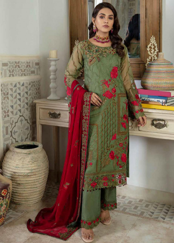 Emaan Adeel Embroidered Chiffon Suits Unstitched 3 Piece EA21FP LE-09 - Luxury Collection