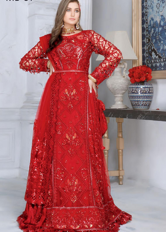 Mahermah by Emaan Adeel Embroidered Net Unstitched 3 Piece Suit EA21M 01 Noor-e-Chasham - Bridal Collection