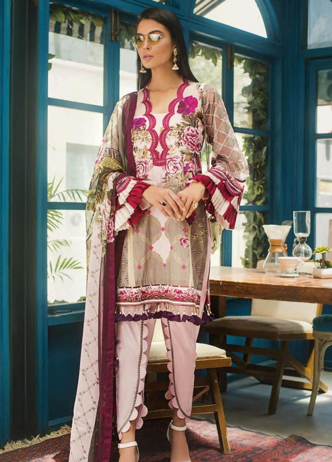 Erum Khan Embroidered Lawn Unstitched 3 Piece Suit EK20L D-08A - Eid Collection