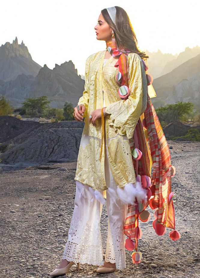 Erum Khan Embroidered Lawn Suits Unstitched 3 Piece EK21L 04 Daffodils - Luxury Summer Collection