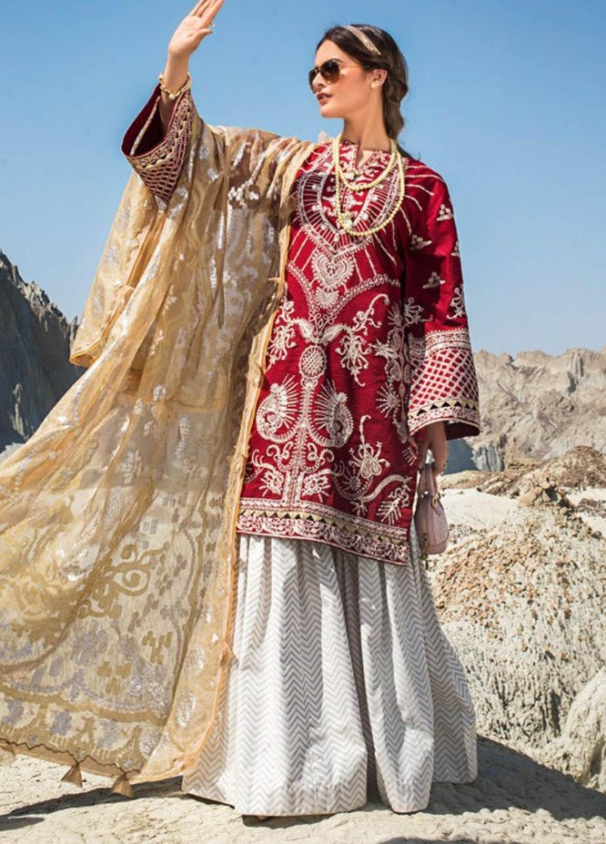 Erum Khan Embroidered Lawn Suits Unstitched 3 Piece EK21L 06 Ethnic Scarlet - Luxury Summer Collection