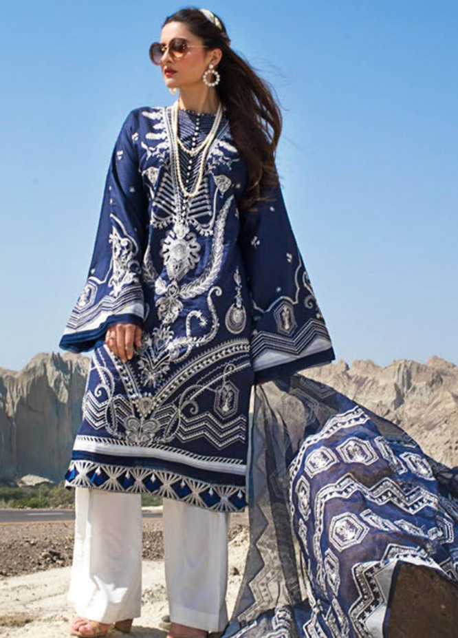 Erum Khan Embroidered Lawn Suits Unstitched 3 Piece EK21L 07 Magestic Indigo - Luxury Summer Collection