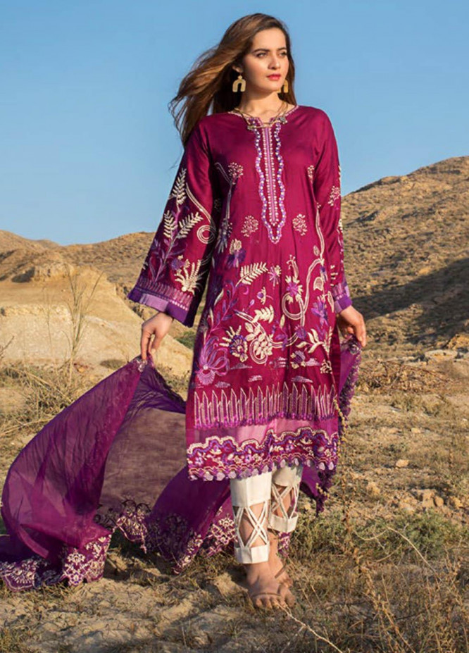 Erum Khan Embroidered Lawn Suits Unstitched 3 Piece EK21L 09 Peri Winkle - Luxury Summer Collection