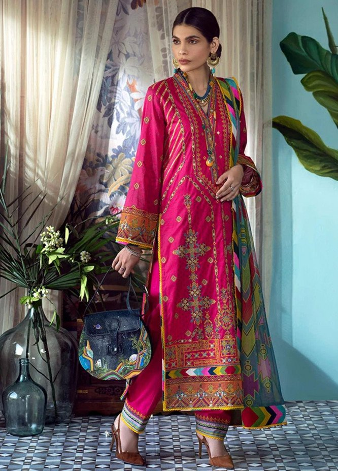 Fahad Hussayn Embroidered Lawn Suits Unstitched 3 Piece FH21SE D-06 - Luxury Collection