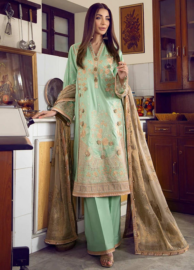 Fahad Hussayn Embroidered Lawn Suits Unstitched 3 Piece FH21SE D-12 - Luxury Collection