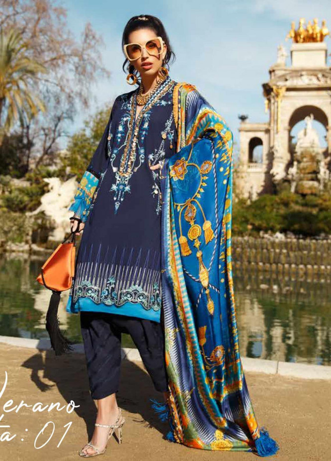 Farah Talib Embroidered Jacquard Unstitched 3 Piece Suit FTA20SS 01 Verano - Spring / Summer Collection