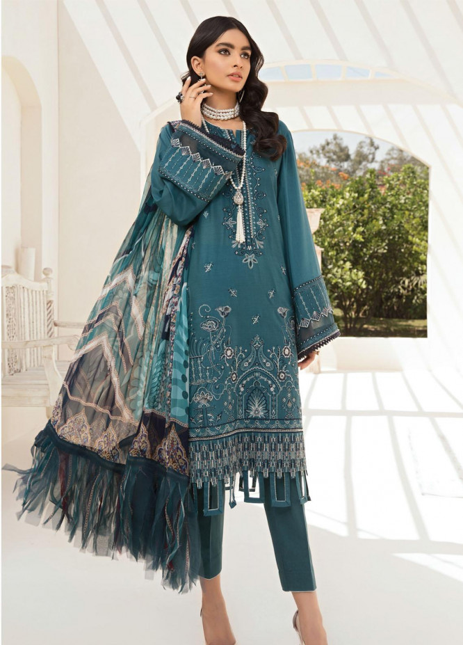 Farasha Embroidered Lawn Suits Unstitched 3 Piece FSH21-L2 03 Blazing Crystal - Festive Collection
