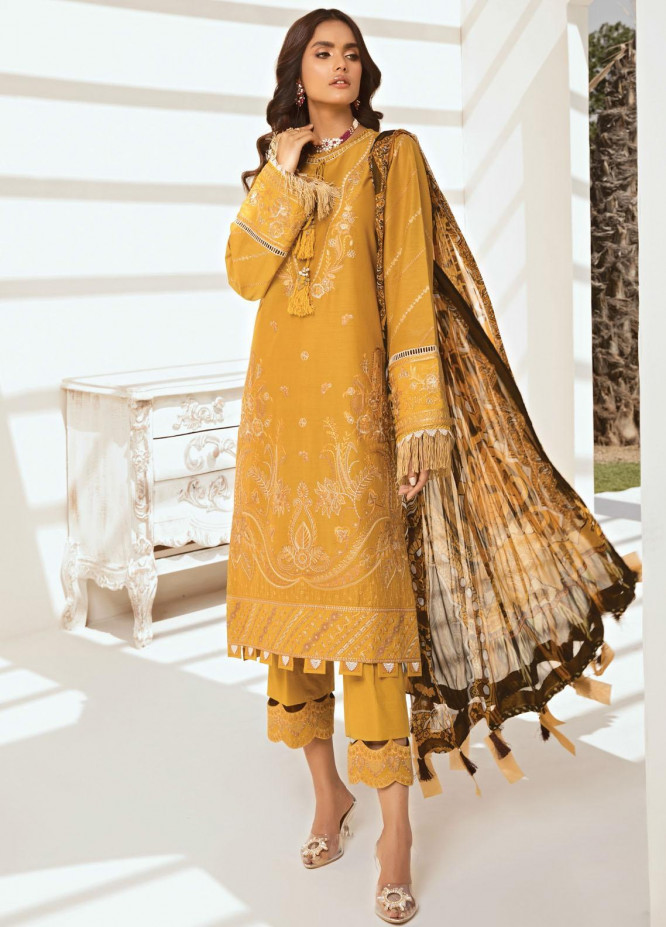 Farasha Embroidered Lawn Suits Unstitched 3 Piece FSH21-L2 07 Sunbeam Glow - Festive Collection
