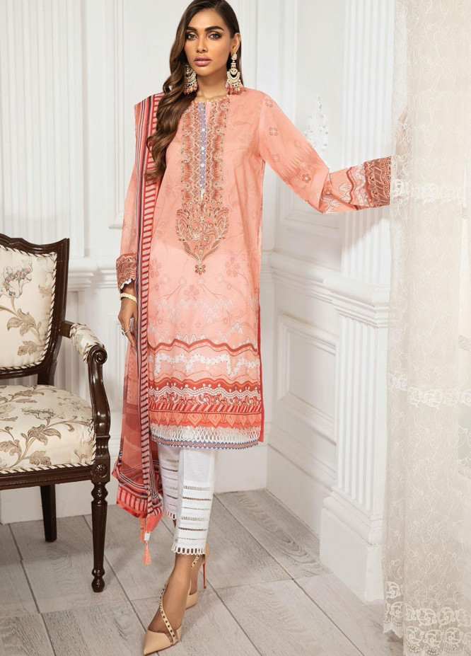 Farasha Embroidered Lawn Suits Unstitched 3 Piece FSH21-L3 04 Peach Peony - Festive Collection