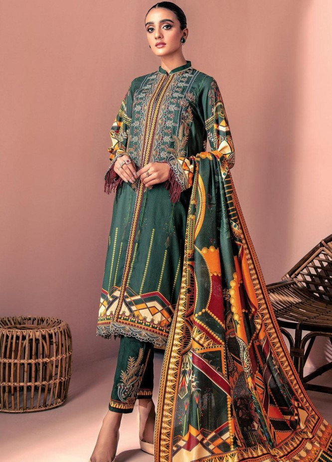 Farasha Embroidered Linen Unstitched 3 Piece Suit FSH20LN 05 Emerald Luxe - Winter Collection