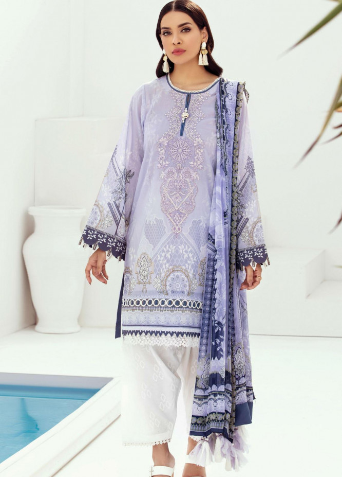 Farasha Embroidered Lawn Suits Unstitched 3 Piece FSH21L 04-LAVENDER DEW - Summer Collection