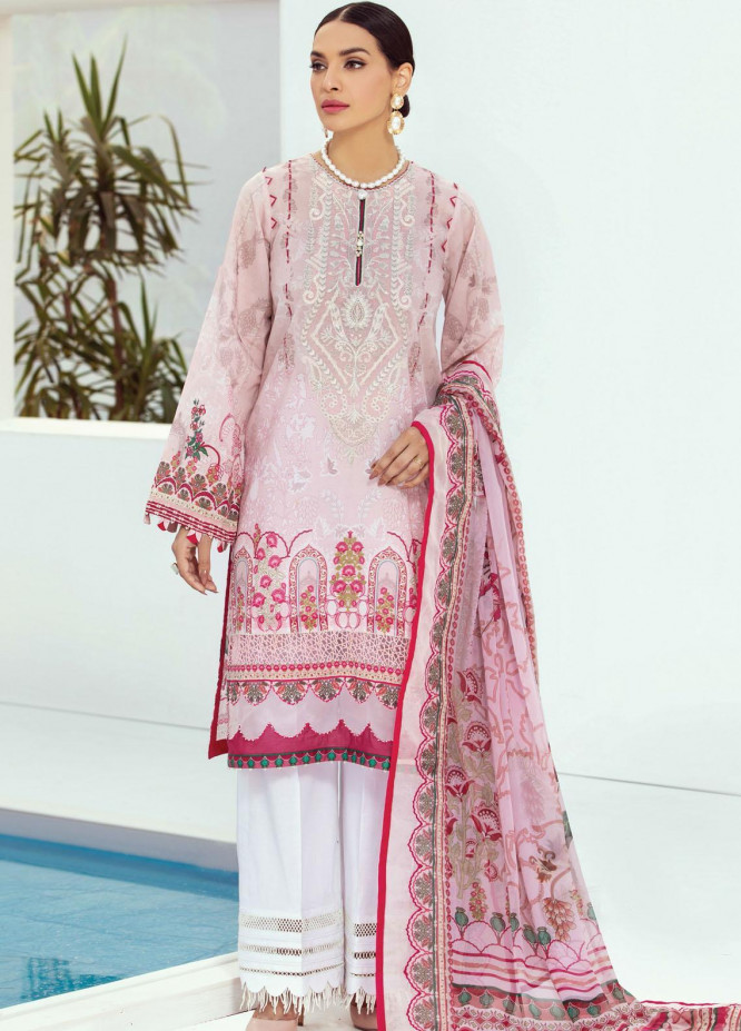 Farasha Embroidered Lawn Suits Unstitched 3 Piece FSH21L 07-PINK SUBLIME - Summer Collection