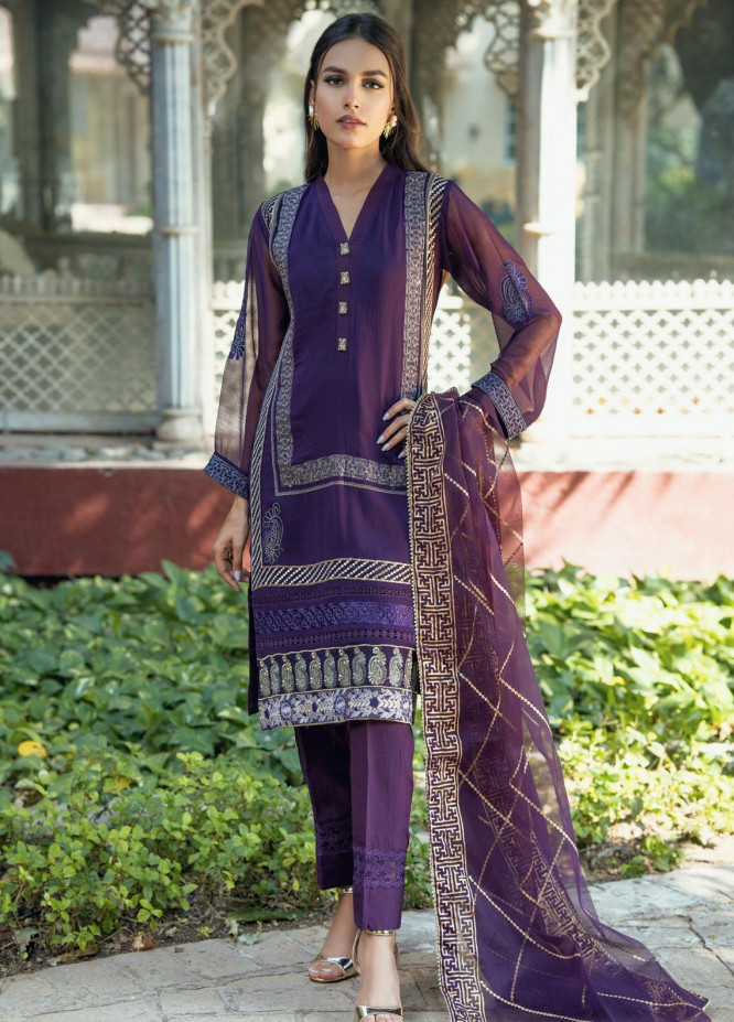 Fascino Embroidered Chiffon Suits Unstitched 3 Piece FN21LF Heather - Luxury Collection