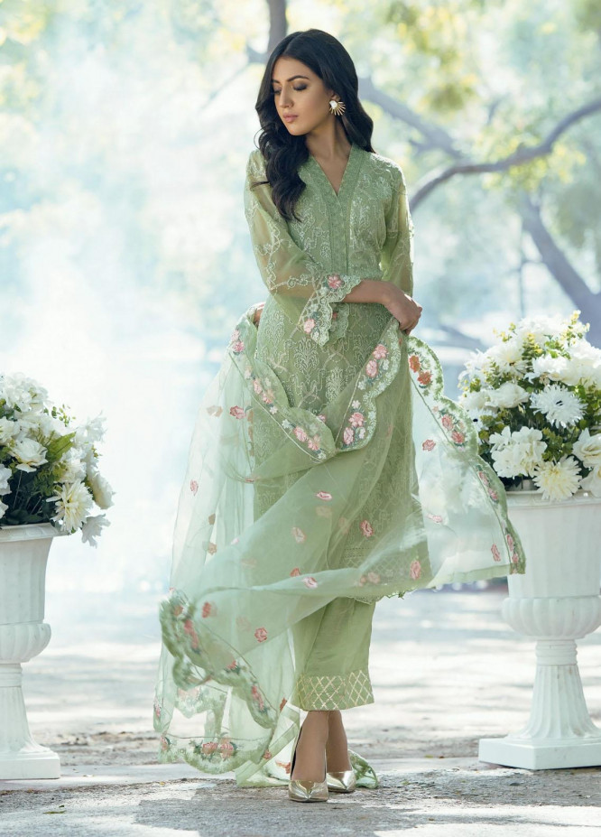 Fascino Embroidered Chiffon Suits Unstitched 3 Piece FN21LF Carnation - Luxury Collection