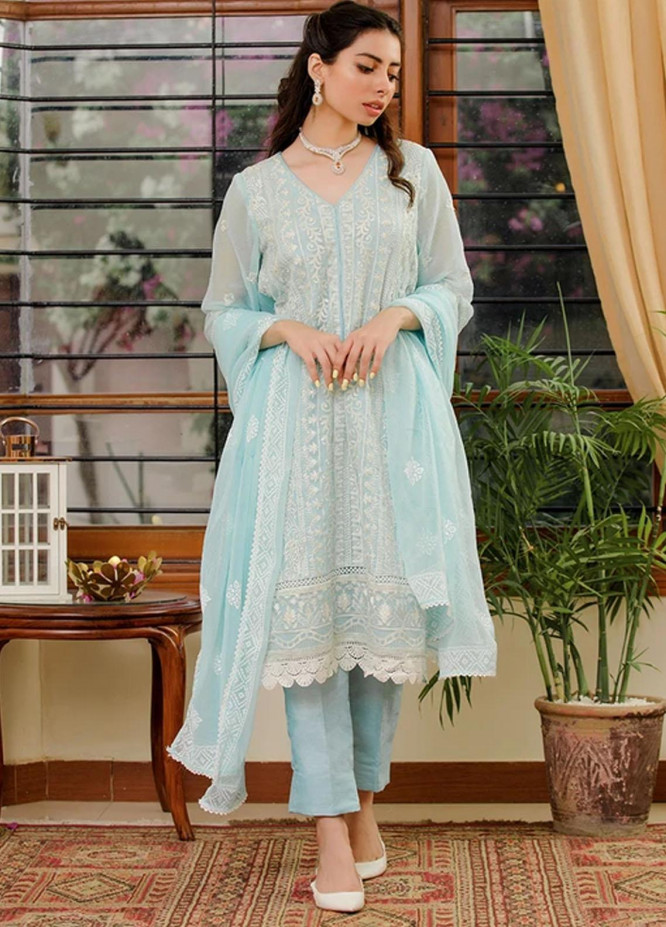 LA FLORA By Fascino Embroidered Chiffon Suits Unstitched 3 Piece FN21-LF2 Sea Breeze - Luxury Collection