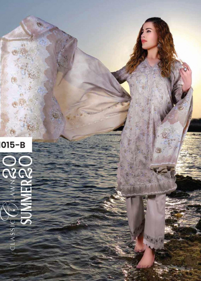 Five Star Printed Lawn Unstitched 3 Piece Suit FS20C 1015B - Spring / Summer Collection