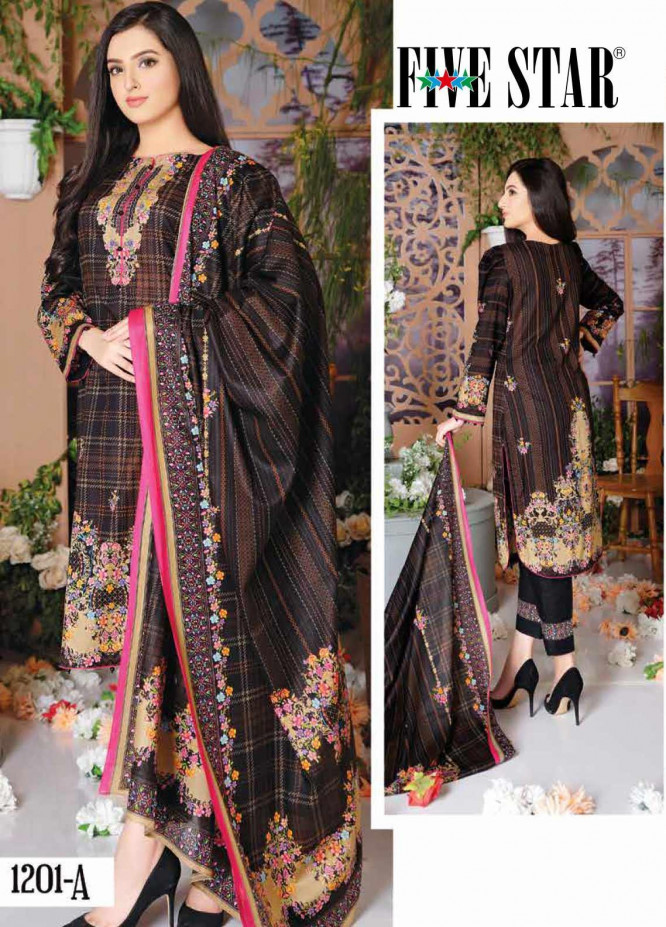 Five Star Printed Lawn Unstitched 3 Piece Suit FS20CL-1 1201A - Spring / Summer Collection