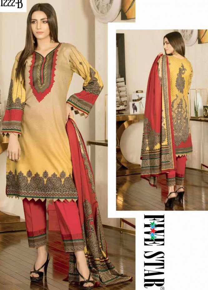 Five Star Printed Lawn Unstitched 3 Piece Suit FS20CL 1222B - Spring / Summer Collection