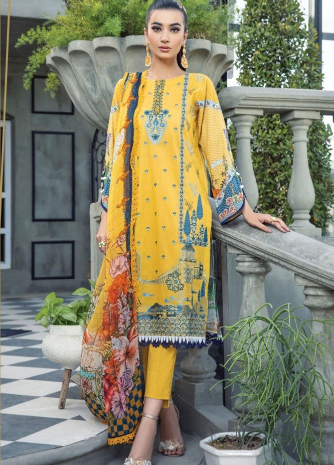 Florent Embroidered Lawn Suits Unstitched 3 Piece FL21LL D-04B - Summer Collection