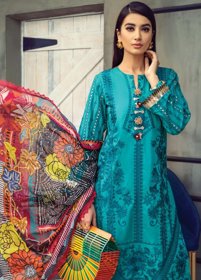 Florent Embroidered Lawn Suits Unstitched 3 Piece FL21LL D-05B - Summer Collection
