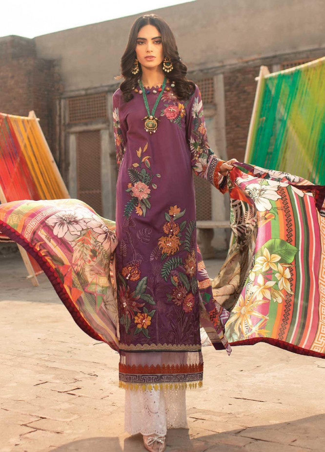 Florent Embroidered Lawn Suits Unstitched 3 Piece F21SS 3B - Luxury Collection