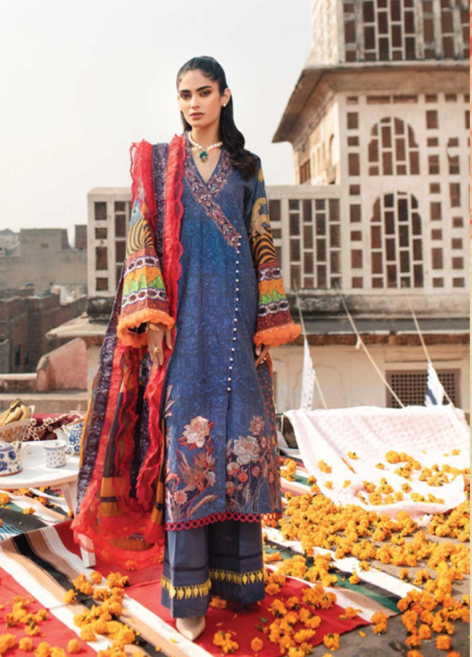 Florent Embroidered Lawn Suits Unstitched 3 Piece F21SS 4B - Luxury Collection