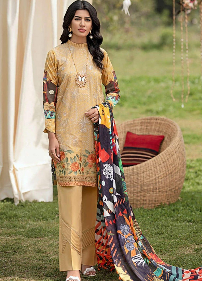 Florent Embroidered Lawn Suits Unstitched 3 Piece F21SV FL-06 - Summer Collection