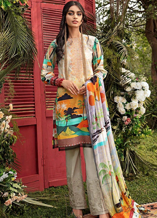Florent Embroidered Lawn Suits Unstitched 3 Piece F21SV FL-16 - Summer Collection