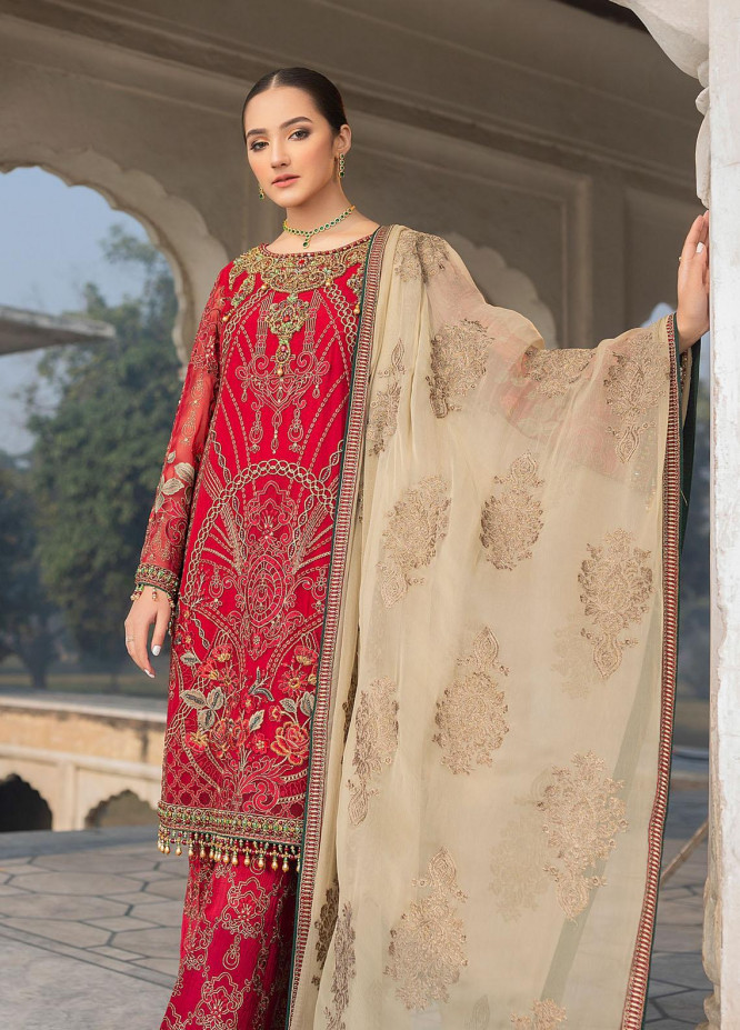 Flossie Embroidered Chiffon Suits Unstitched 3 Piece FL21-LC2 206 Cerise - Luxury Collection