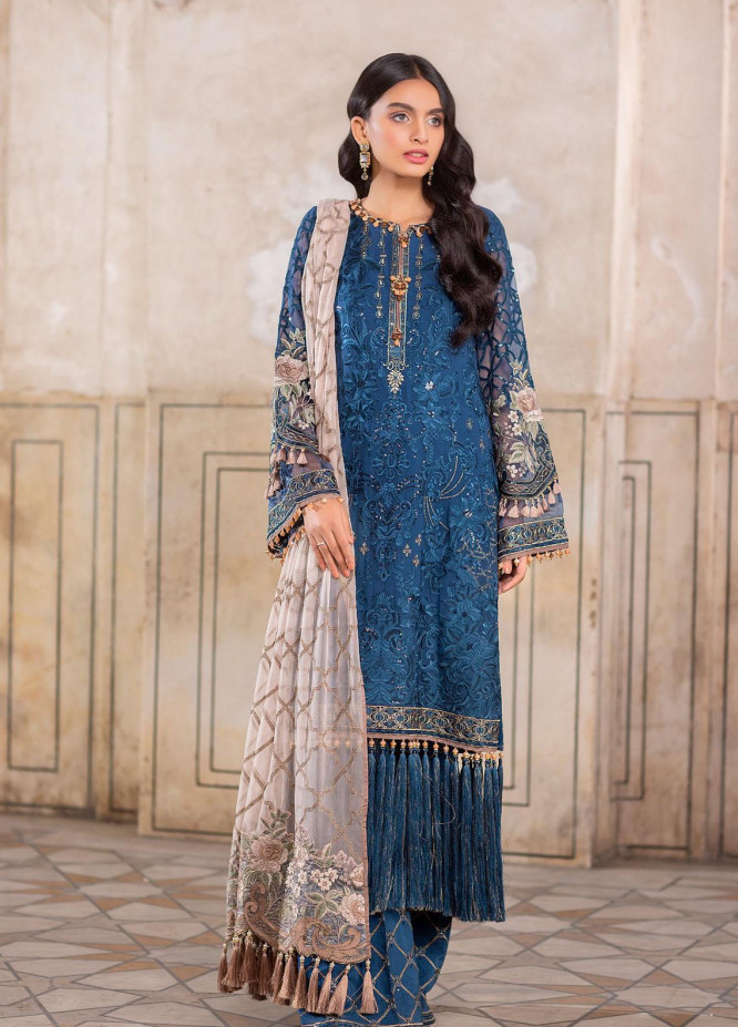 Flossie Embroidered Chiffon Suits Unstitched 3 Piece FL21-LC2 208 Rouge - Luxury Collection