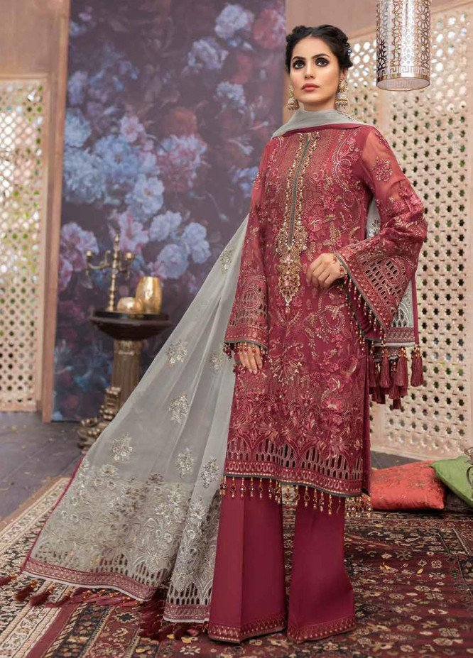 Flossie Embroidered Chiffon Suits Unstitched 3 Piece FL21RN 02 HIBISCUS - Luxury Formals Collection