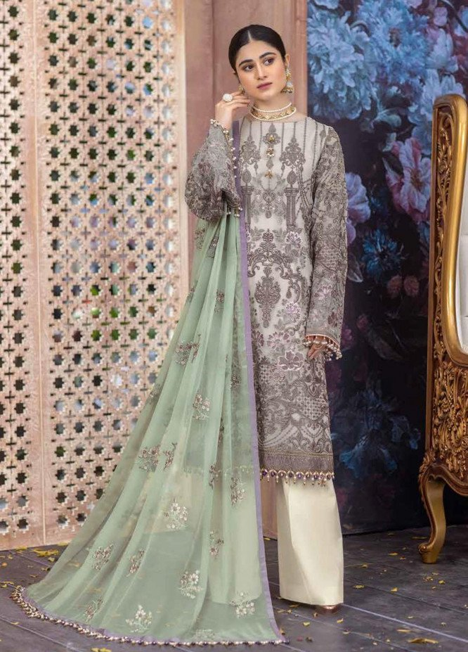 Flossie Embroidered Chiffon Suits Unstitched 3 Piece FL21RN 06 SUAVE - Luxury Formals Collection